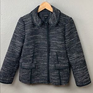 Talbots black and silver tweed jacket